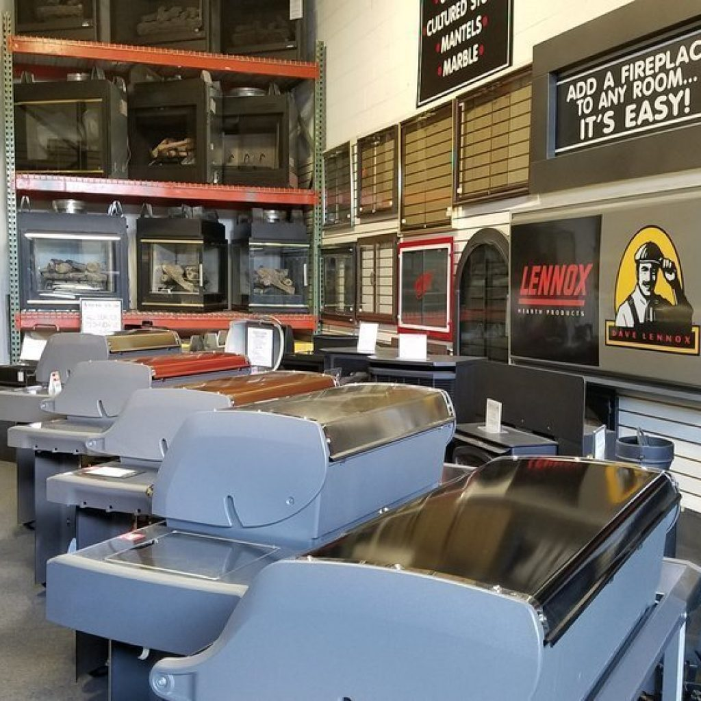 The American Fireplace showrooms are loaded with fireplaces, fireplace doors and barbeque grills