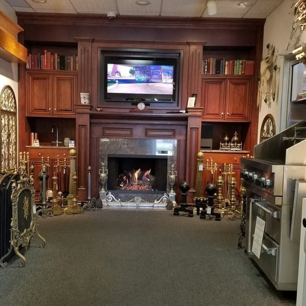 TV mounted over the American Fireplace plus all the accessories!. Our showroom will amaze you!