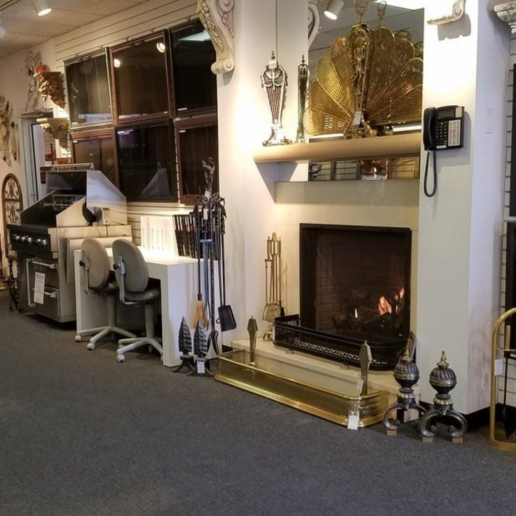 The American Fireplace Showroom main lobby displays fireplace tools, mantels, doors and more!