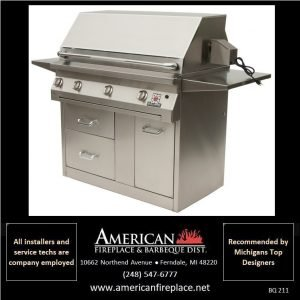 solaire stainless Barbeque with cart, side shelves and rotisserie