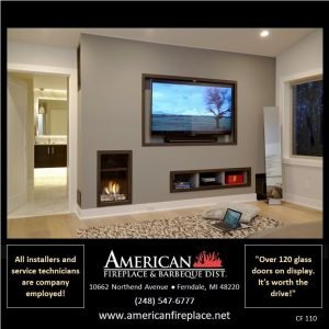 Contemporary direct vent Fireplace and TV with stone media plus book shelves