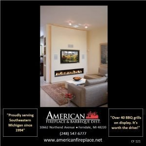 Contemporary 8 foot linear Fireplace with TV and surround sound