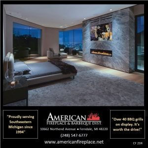 modern high end bedroom with Contemporary Fireplace, stone surround and TV