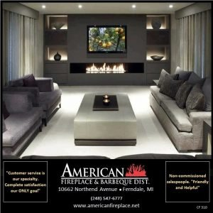 Contemporary linear Fireplace with TV and side shelves