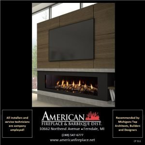 """Contemporary linear Fireplace with logs and glass media and 70"""" TV"""