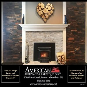realstone fireplace facade and reclaimed wood wall