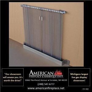 designer Fireplace Curtain Screen with floor trim