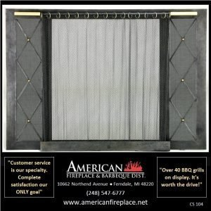 hammered steel antique Fireplace Curtain Screen with brass accents