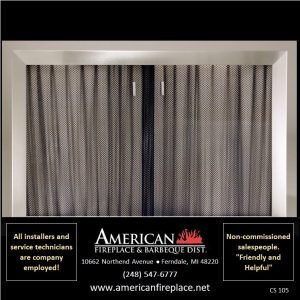 2nd view of wide bezel crushed nickel Fireplace Curtain Screens
