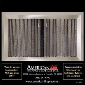 wide bezel brushed nickel Fireplace Curtain Screens
