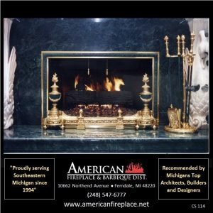 King Richard brass and marble Fireplace Curtain Screen and matching andirons