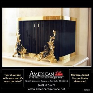 overlap fit corner polished brass Fireplace Curtain Screen with cherub andirons