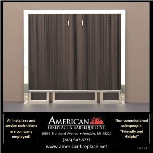 Fireplace Curtain Screens in a polished stainless frame with andiron slots