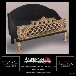 Fireplace firebasket with integrated fire back and antique brass lattice work front panel