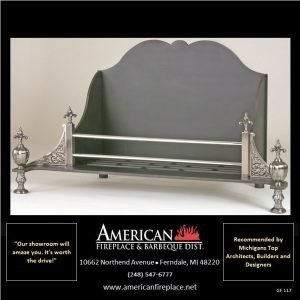 Fireplace firebasket with integrated fire back and antique design brushed nickel andirons