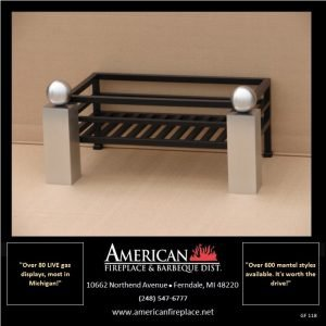 """Flat black fireplace firebasket with bold conjoined brushed nickel andirons, available for 24"""" and 30"""" logs"""