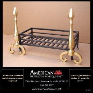 Formal polished brass andirons are an integral aspect of regal fire basket design, designer approved