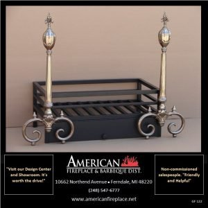 Dominant polished steel andirons are an integral part of this black fire basket
