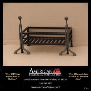 """Raised flat black fire basket with elegant, understated integrated andirons, available for 24"""" and 30"""" gas log sets"""