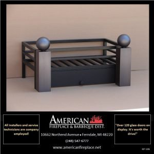 Flat black fire basket with front panel access door and decorative steel andiron accents