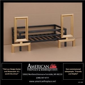 Flat black fire basket with integrated brass andirons, other finishes available