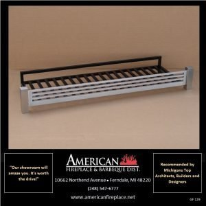 """Flat black fire basket with simple clean lines and stainless steel front, interior designer approved, will fit 24"""" gas logs"""