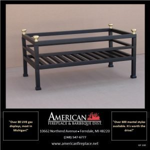 Flat black decorative firebasket with brass accents for 24 inch log sets