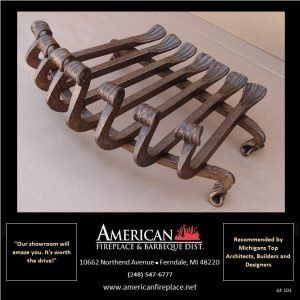 Old World Custom Hand Wrought Heavy Duty Iron Fireplace Grate, Blacksmith Edition