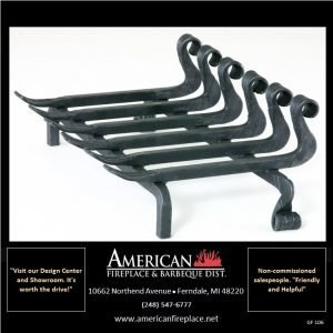 Contemporary Hand Wrought Heavy Duty Iron Fireplace Grate, Curled Tines & Feet