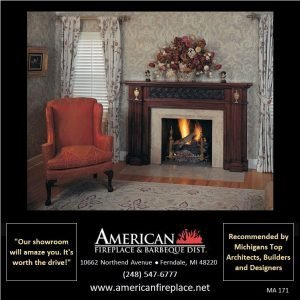 classic mahogany Fireplace Mantel with inlaid brass
