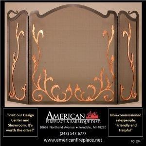 tri-Fold gold flame Fireplace Screen