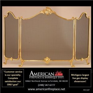 stately polished brass Folding Fireplace Screen