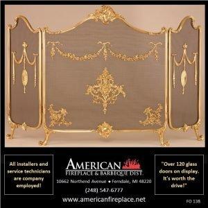 international Folding Fireplace Screen in brass