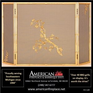 square Folding Fireplace Screen with leaves