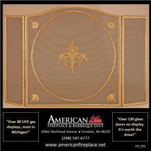 designer Folding Fireplace Screen with crest