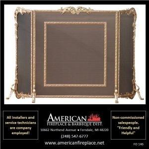 elaborate brass Folding Fireplace Screen