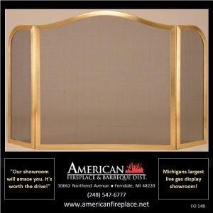 curved brass Folding Fireplace Screen