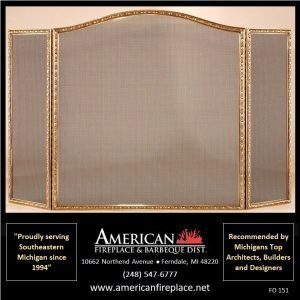 brass tri-fold arched Fireplace Screen