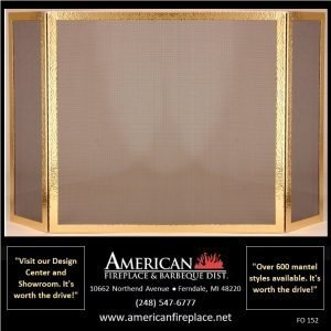 brass tri-fold Folding Fireplace Screen