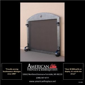 arched Free Standing Fireplace Screen with rectangular opening