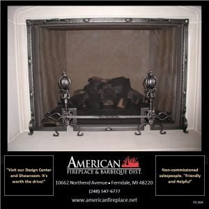 wrought iron Free Standing Fireplace Screen with andirons