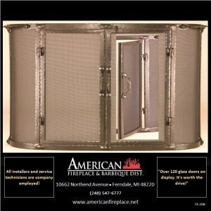 Free curved Standing brass Fireplace Screen with doors
