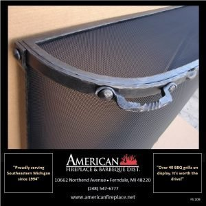 iron Free Standing curved riveted Fireplace Screen with mess top cover
