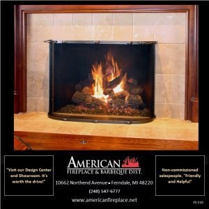 Free Standing curved riveted Fireplace Screen