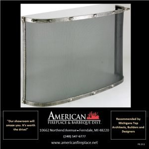 Free Standing curved mesh Fireplace Screen