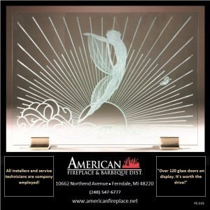 Free Standing etched glass Fireplace Screen