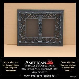 dual steel Mesh Door Fireplace Screen doors and center handles