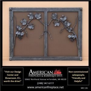 hammered steel Fireplace Mesh door Screen with leaves and branches