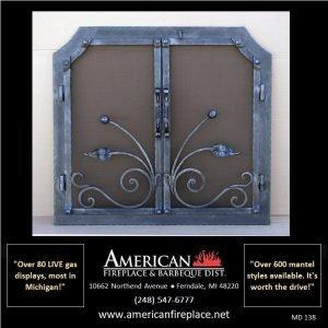 modern art with dual Mesh Door Fireplace Screen
