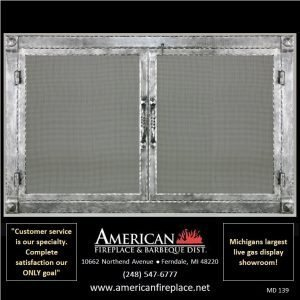 hammered steel Mesh Door Fireplace Screen with overlap fit